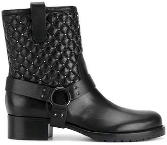 Valentino Black Quilted Leather biker boots
