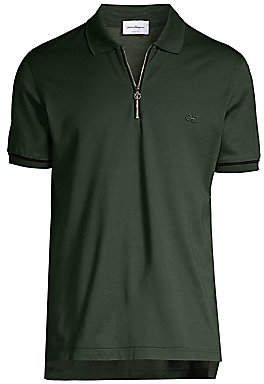 Salvatore Ferragamo Men's Basic Zip Polo Tee