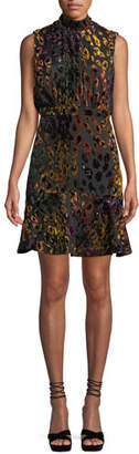 Saloni Fleur Mock-Neck Tie-Back Leopard Velvet Dress