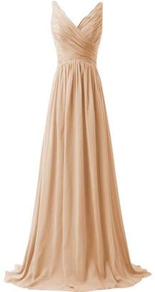 ThaliaDress Women V Neck A Line Formal Evening Bridesmaid Dress Prom Gown T015LF US