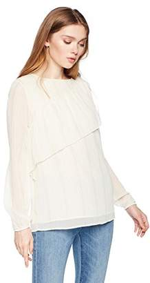 Ella Moon Women's Diagonal Ruffle Detail Long Sleeve Top