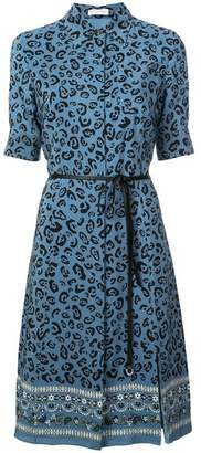 Altuzarra Blue Leopard-Print Silk Crepe de Chine Midi Dress