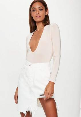 Missguided Denim White Extreme Rip Hem Midi Skirt