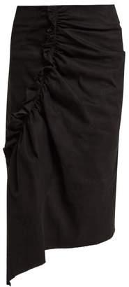 Preen Line Ruffled Asymmetric Cotton Blend Pencil Skirt - Womens - Black