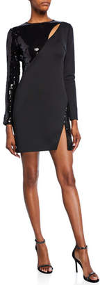 SHO Long-Sleeve Neoprene & Sequin Cutout Dress