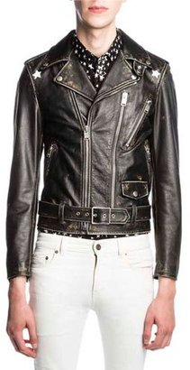 Saint Laurent Star-Painted Distressed Leather Moto Jacket, Black $5,990 thestylecure.com