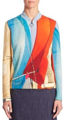 Akris Main Sail Print Bomber Jacket