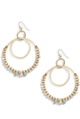 Chan Luu Semiprecious Stone Double Hoop Drop Earrings