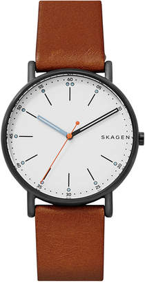Skagen Men's Signatur Brown Leather Strap Watch 40mm SKW6374