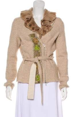 Blumarine Fur-Accented Wool-Blend Jacket