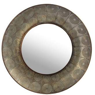 Privilege Large Hammered Copper Metal Round Wall Mirror