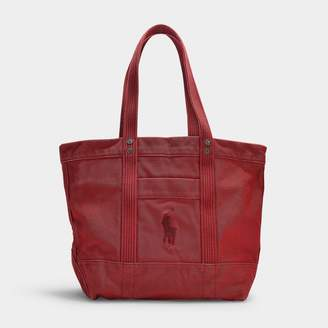 Polo Ralph Lauren Large Pp Tote In Scarlet Canvas