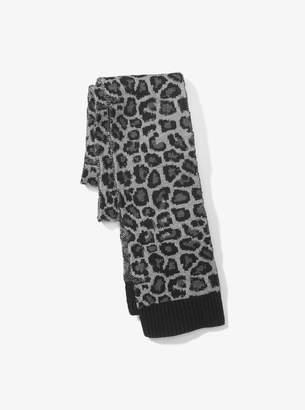 Michael Kors Leopard Merino Wool Scarf