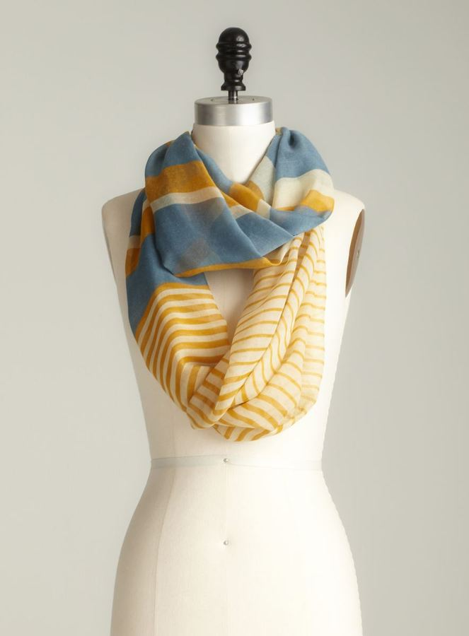 David & Young Stripe Printed Infinity Scarf
