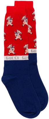 Gucci blue Pigs intarsia wool blend socks