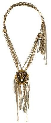 Chanel Faux Pearl Multistrand Lion Pendant Necklace