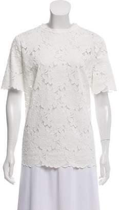 Lanvin Guipure Lace Short Sleeve Top