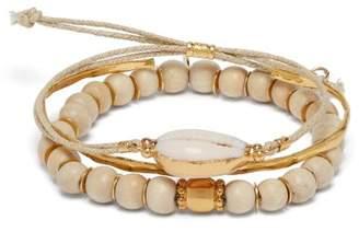 BEIGE Elise Tsikis - Santa Set Of Three Gold Plated Bracelets - Womens