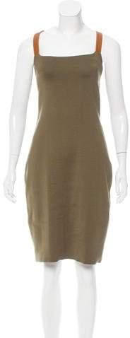 Ralph Lauren Silk & Leather-Trimmed Midi Dress
