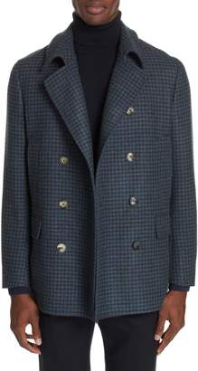 Boglioli Trim Fit Double Breasted Houndstooth Wool Coat