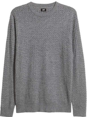 H&M Textured-knit Sweater - Gray