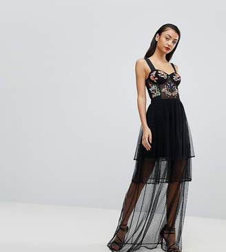 Asos Tall TALL Embroidered Corset Maxi Prom Dress