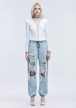 Alexander Wang Modal Spandex Long Sleeve Bodysuit