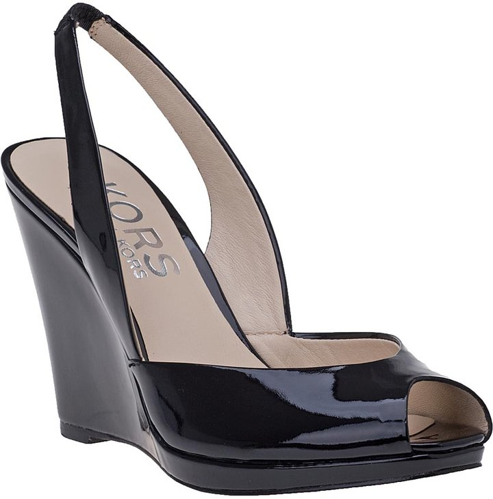 KORS Vivian Wedge Sandal Black Patent Leather