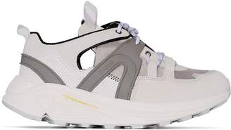 Ganni white Brooklyn 45 suede and mesh sneakers