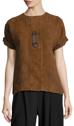 Ralph Lauren Collection Sahara Heavy Linen Tee, Brown $1,350 thestylecure.com
