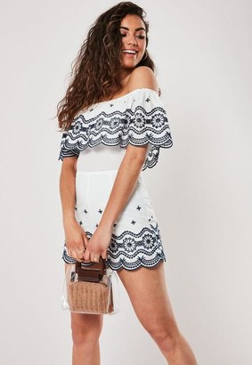 Missguided White Embroidered Bardot Romper