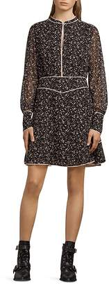 AllSaints Kay Pepper Piped Floral Print Dress