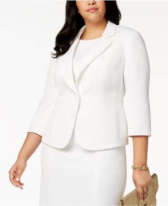 Kasper Plus Size Textured 3/4-Sleeve Blazer