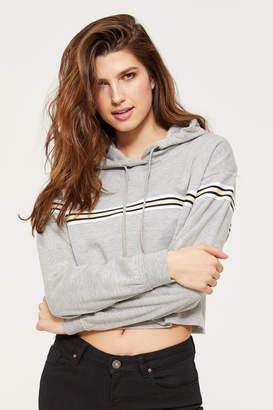 Ardene Basic Cropped Striped Hoodie