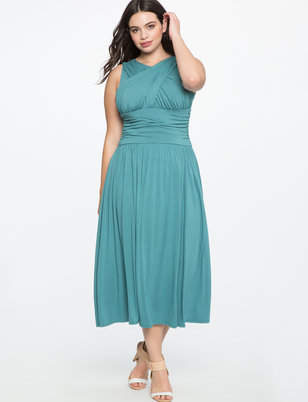 ELOQUII Ruched Cross Front Dress