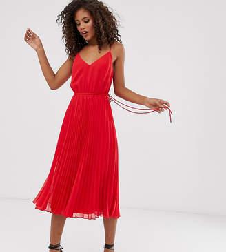 Asos Tall DESIGN Tall pleated cami midi dress with drawstring waist