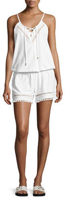 Ella Moss Juliet Solids Sleeveless Romper Coverup, White
