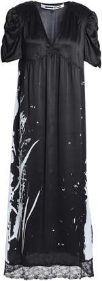 McQ Lace-trimmed Metallic Printed Silk-satin Midi Dress