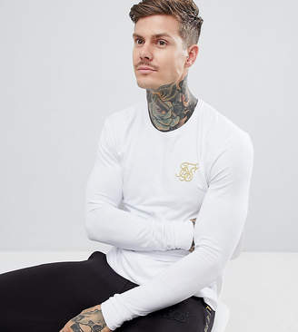 SikSilk long sleeve t-shirt in white with gold logo exclusive to ASOS