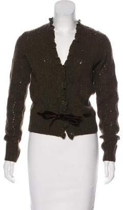 Ralph Lauren Velvet-Trimmed Wool Cardigan