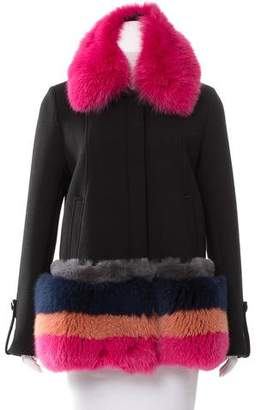 Tanya Taylor Fur-Trimmed Zip-Up Coat