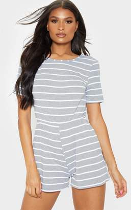 PrettyLittleThing Grey Striped Short Sleeve Jersey Playsuit