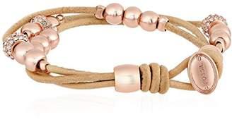 Fossil Rondel Leather Wrist Wrap Bracelet