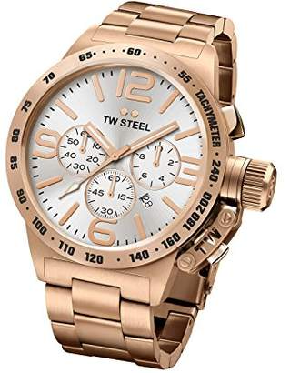 TW Steel Canteen Men's Quartz Watch with Silver Dial Chronograph Display and Rose Gold Stainless Steel Rose Gold Plated Bracelet CB164
