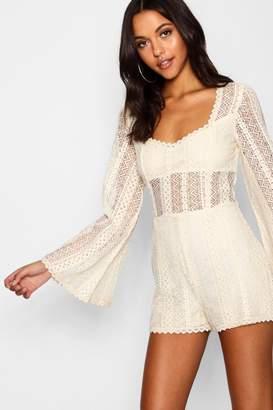 boohoo Tall Flare Sleeve Crochet Playsuit