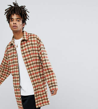 Reclaimed Vintage Inspired Overcoat In Tan Check