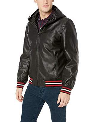 Tommy Hilfiger Men's Faux Leather Hoody Bomber with Striped Rib Knit