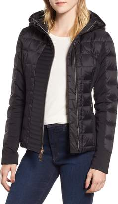 Andrew Marc Hybrid Faux Leather Quilted Hooded Jacket