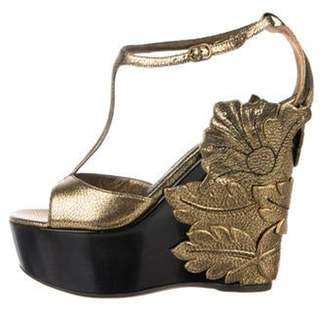 Alexander McQueen Leather Ankle Strap Wedges Gold Leather Ankle Strap Wedges