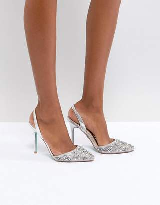 Betsey Johnson Blue By Blue By Betsy Johnson Silver Sonia Wedding Embellished Heeled Shoes